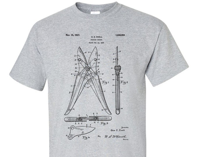 Pruning Shears Secateurs Patent Gardening Mens T-Shirt