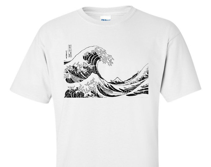 Katsushika Hokusai The Great Wave off Kanagawa Fine Art Mens Mono T-Shirt