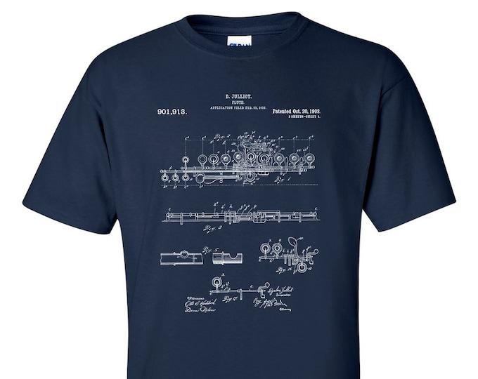 Flute Patent Blueprint Musician T-Shirt