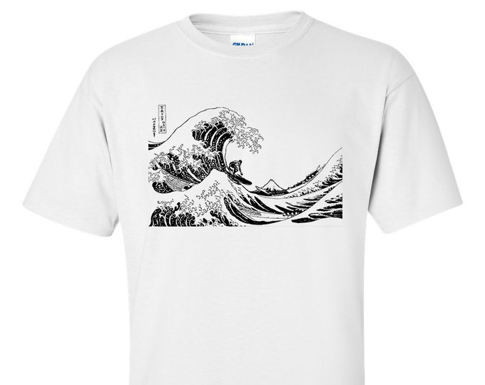 Surfing The Great Wave off Kanagawa Mono Hokusai Fine Art Mens Mono Surf T-Shirt