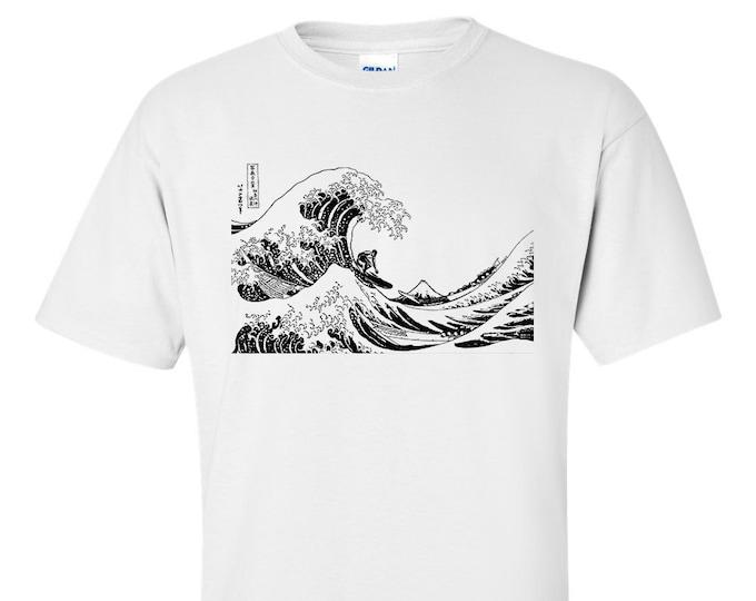 Surfing The Great Wave off Kanagawa Mono Hokusai Fine Art Mens Surfer gift T-Shirt