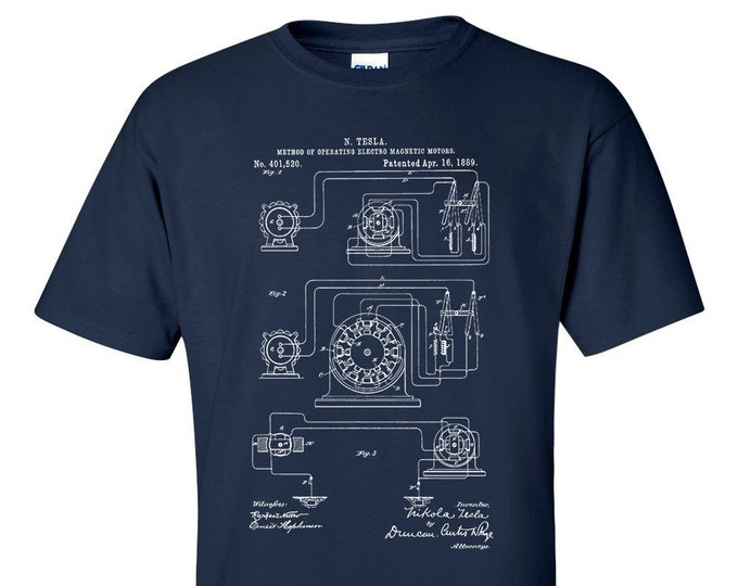 Nikola Tesla Operating Electric Motors Map Patent Blueprint T-Shirt