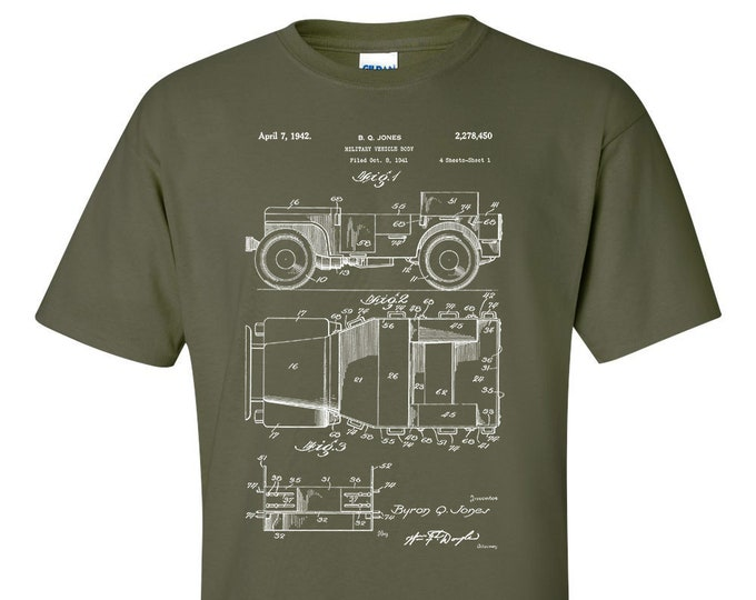 1942 Willy's Jeep WW2 Army Military Patent Blueprint T-Shirt