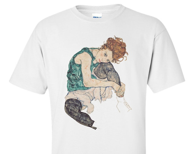 Sitting Woman By Egon Schiele Fine Art Mens T-Shirt