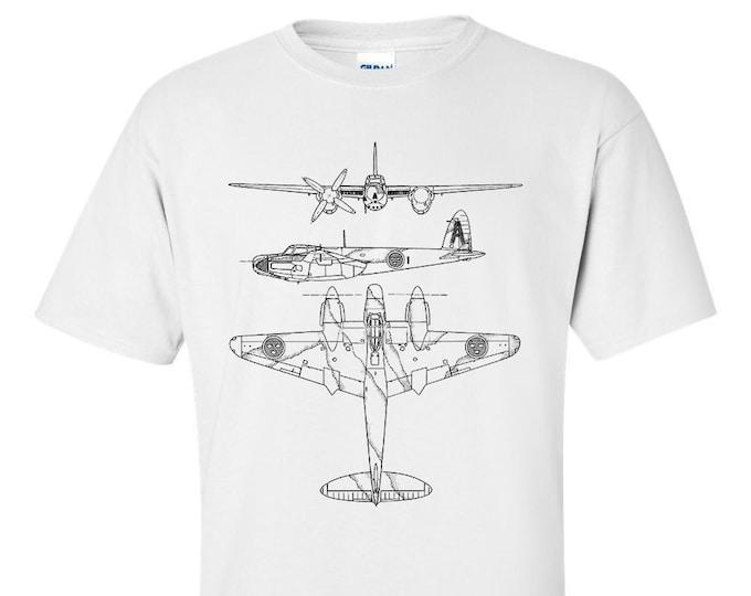 de Havilland Mosquito Technical Drawing Blueprint WW2 Aircraft T-Shirt