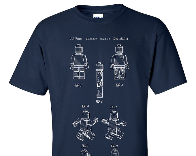 Lego Man Figure Patent Blueprint T-Shirt