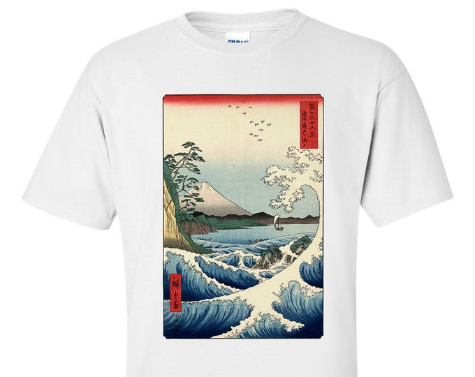 Utagawa Hiroshige The Sea Off Sata Fine Art T-Shirt