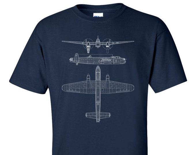 Avro Lancaster Heavy Bomber Technical Drawing Blueprint Aircraft RAF WW2 T-Shirt