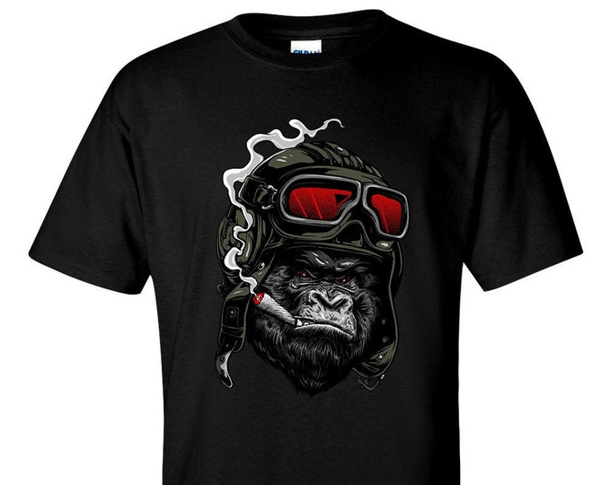Cigar Smoking Aviator Pilot Ape T-Shirt