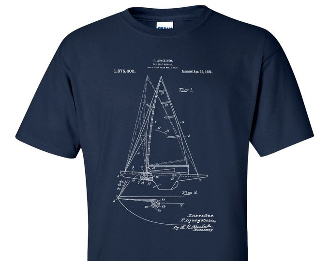 Sailboat Rigging Patent T-Shirt