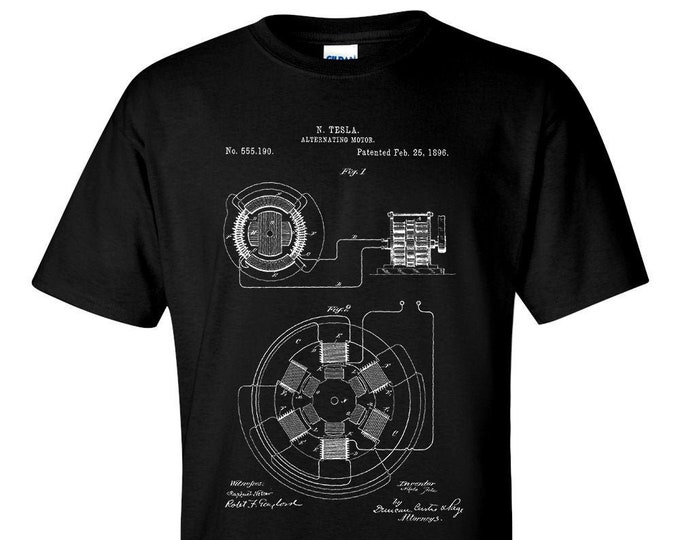 Nicola Tesla Alternating Motor Patent Blueprint T-Shirt