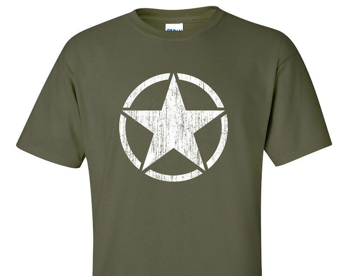 Distressed US Army WW2 White Star Allies T-Shirt