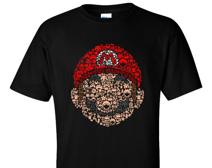 Not Just Nerds Mario icons elements controllers T-Shirt