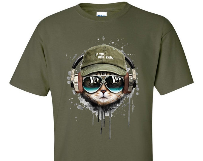 If You Only Knew Headphone Tabby Cool Cat  T-Shirt