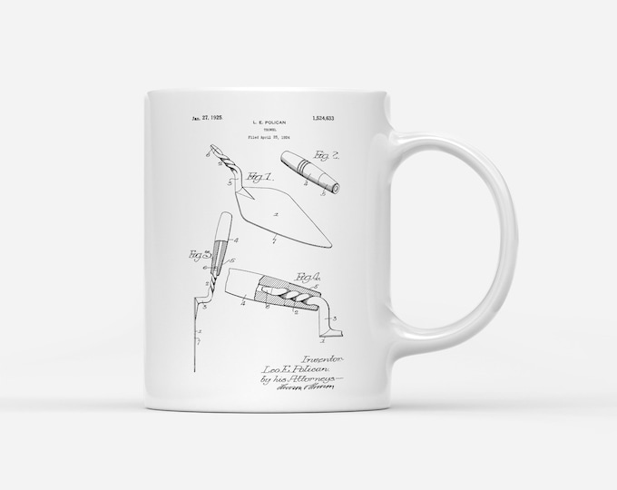 Bricklaying Mason Brickie Builders Trowel Patent Blueprint Gift Mug