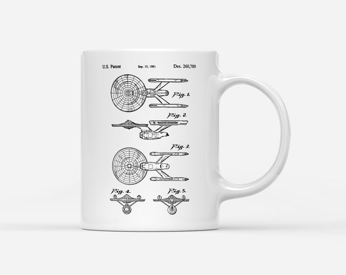 USS Enterprise Starship Patent Blueprint Gift Mug