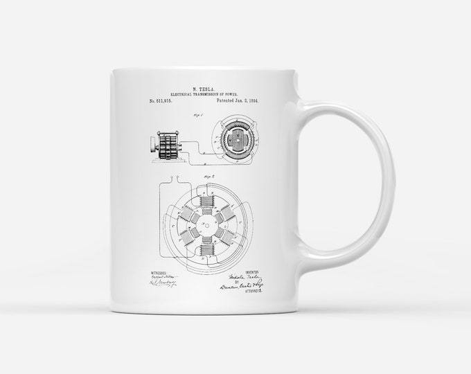 Nikola Tesla Electrical Transmission Patent Blueprint Physics Gift Mug