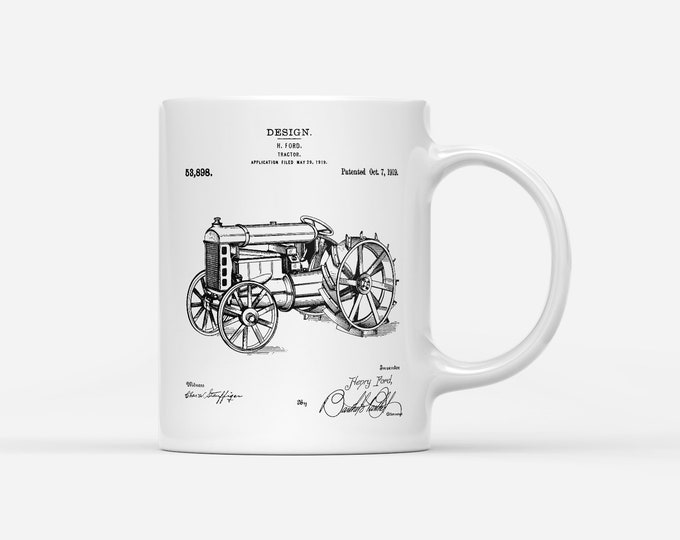 H Ford Tractor Patent Blueprint Farmer Gift Mug
