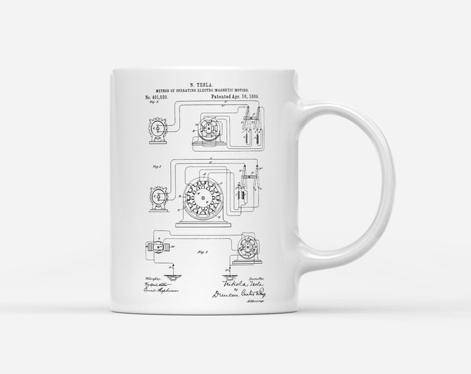 Nikola Tesla Operating Electric Motors Map Patent Blueprint Physics Gift Mug