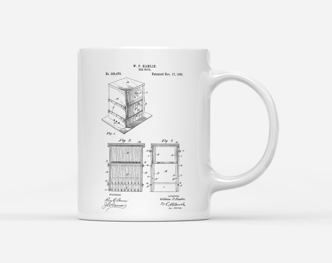 Bee Hive Patent,Bee Keeper, Honey Bee Gift Mug