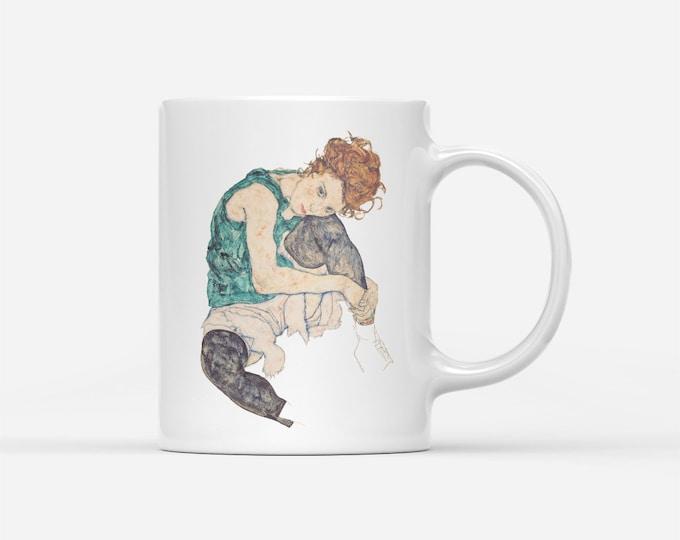 Sitting Woman By Egon Schiele Fine Art Gift Mug