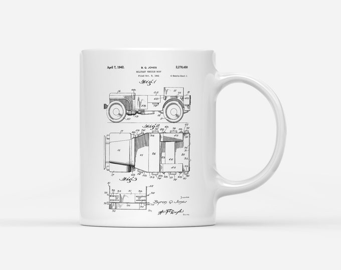 1942 Willy's Jeep WW2 Army Military Patent Blueprint Gift Mug