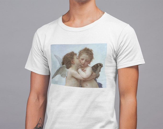 L'Amour et Psyché, enfants Kissing Cherub Angels First Kiss Fine Art Mens T-Shirt