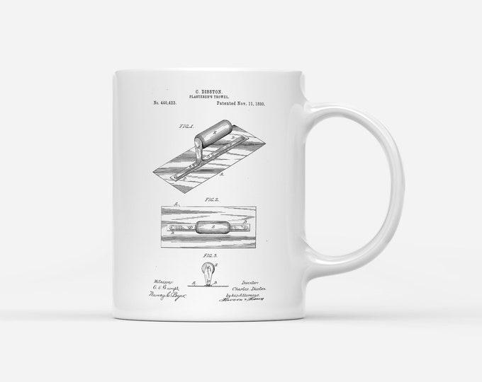 Plasterers Builders Drywall Trowel Patent Blueprint Gift Mug
