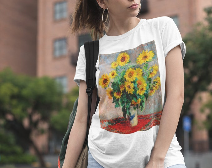 Claude Monet Bouquet of Sunflowers Fine Art Womens T-Shirt