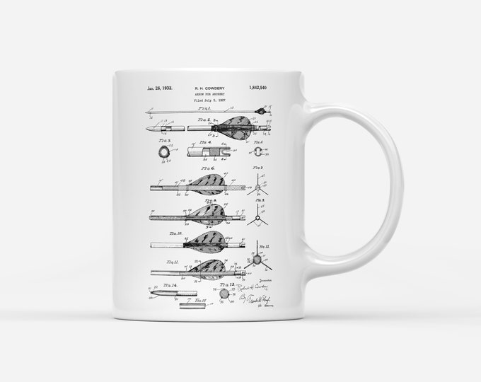 Archery Arrow Patent Blueprint Archer Gift Mug