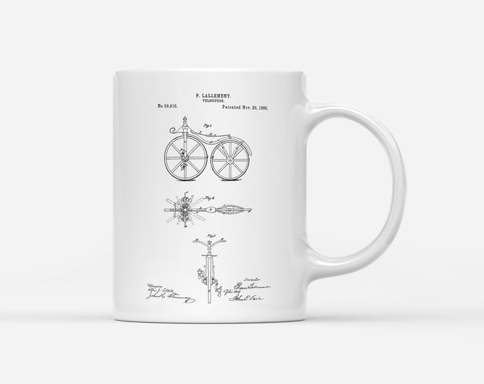 First Bicycle Patent 1866 Velocipede Bike Blueprint Gift Mug