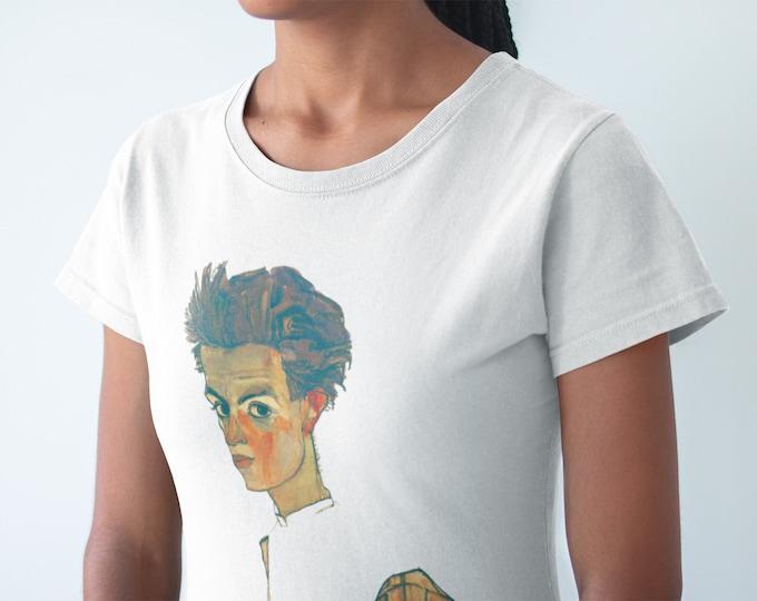 Self Portrait By Egon Schiele Fine Art Womens T-Shirt
