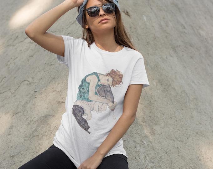 Sitting Woman By Egon Schiele Fine Art Womens T-Shirt