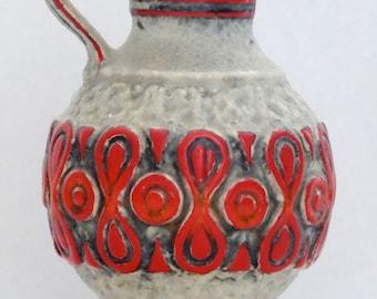 SALE ---> Üebelacker Mid Century White & Red West German Vase