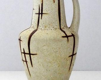 Üebelacker Mid Century X-Tall Pebble Glazed Cream & Brown Stretched Neck West German Vase