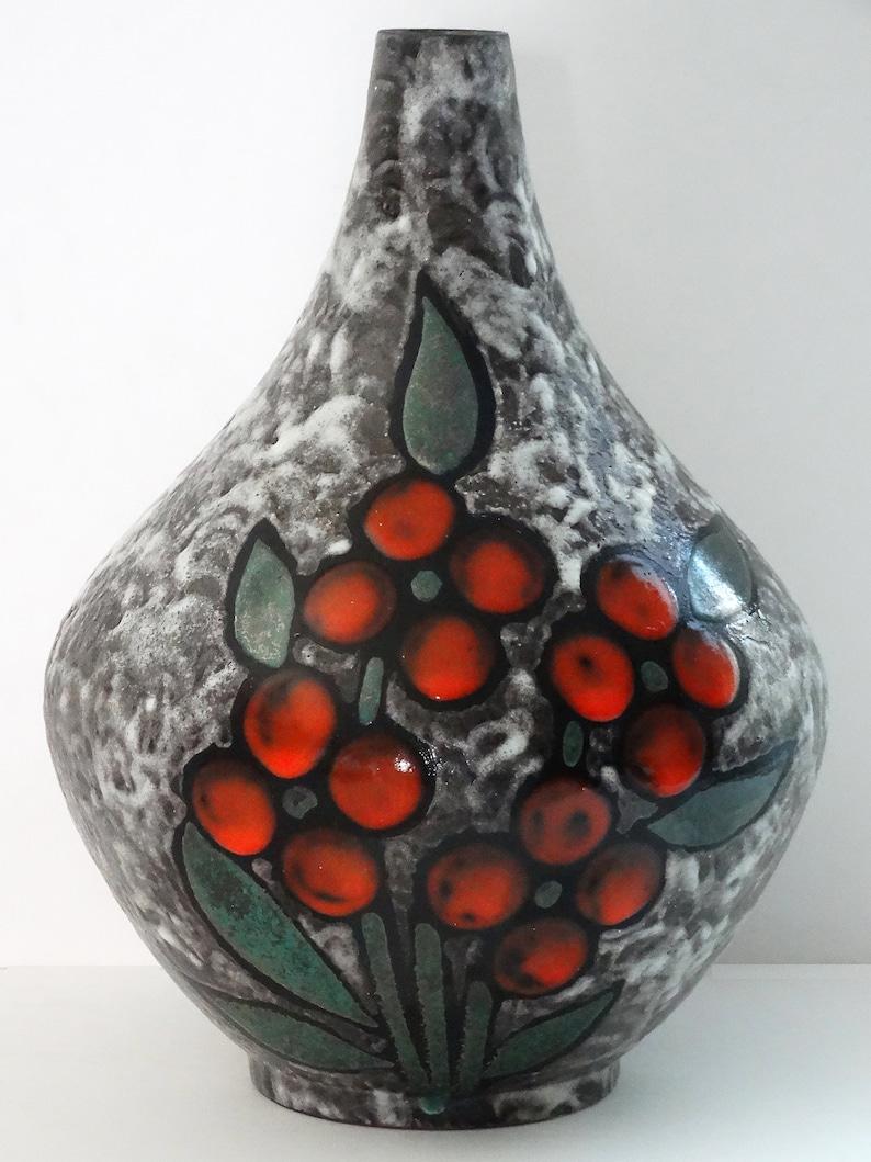 Ruscha Mid Century Grey /& Red Cherries West German Vase