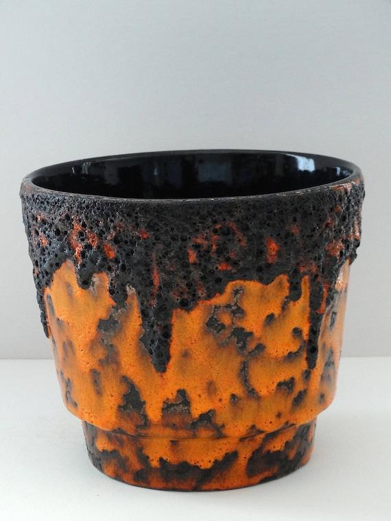 Fohr Mid Century Rare XL Red Black /& White Fat Lava West German Flower Pot
