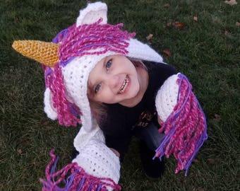 Unicorn Hooded Scarf  crochet UNICORN hat  bulky scarves and wraps with  pockets  hooded animal scarves   UNICORN HOOD 7f8ecb8de05