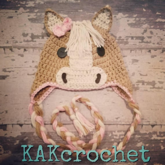 Crochet Horse Hat  Crocheted Unisex horse hat with  2439617d383
