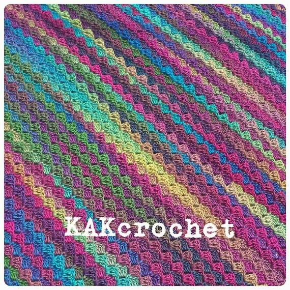 Gehäkelte Regenbogen Afghanischen C2c Decke Decken Und Etsy