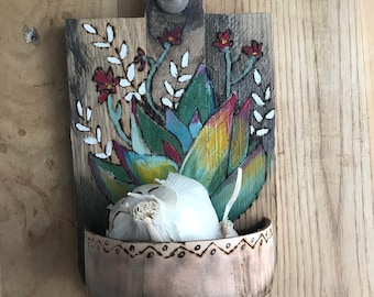 Wall Pocket   Garlic Holder   Key Holder   Wooden Wall Decor   Fifth Anniversary Gift   Succulent Art