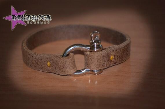 Mens Leather Shackle Bracelet