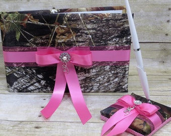 Mossy Oak Camo Guest Book and Pen Set, Mossy Oak Breakup Camo  Wedding Guest Book and Pen set with Pink, Mossy Oak Wedding with Pink