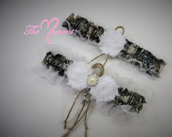 Bridal Garter, Wedding Garter, True Timber Camo Garter Set, Camouflage Garter Set, White Camouflage Wedding, Camo and Twine Garter.