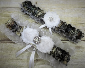 White Country Garter, Camo Garter Set, True Timber garter, Camo Bridal Garter, Prom Garter, Toss Garter, Keepsake Garter, Rustic Wedding