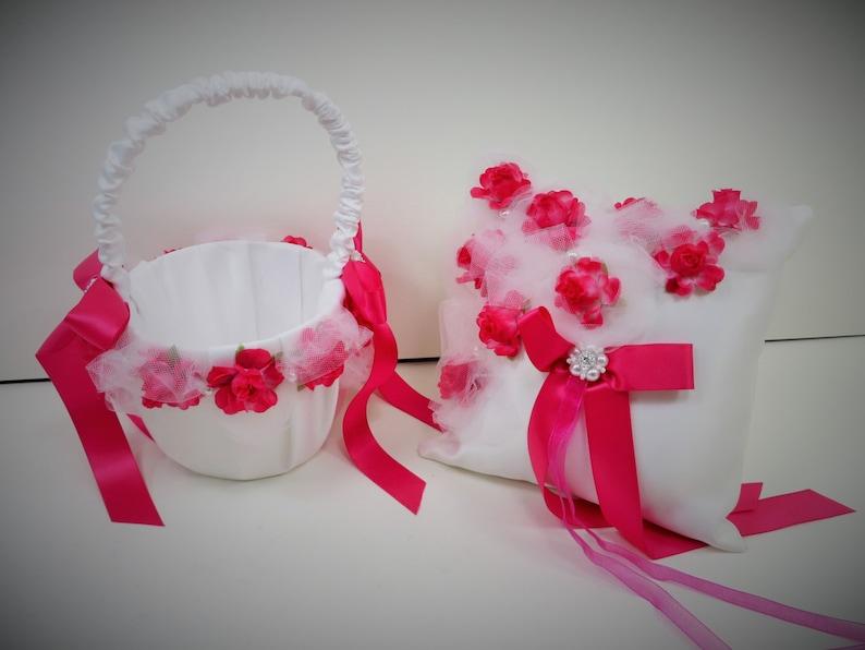 Pink Rose Wedding Fuchsia Flower Girl Basket Fuchsia Ring Bearer Pillow Pink Rose Wedding Set Pink and White Satin Set Pink Wedding Set