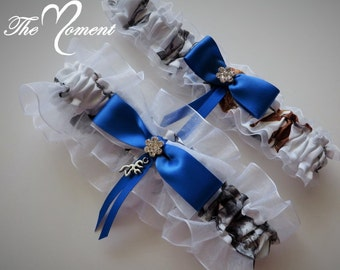 White Camo Garter Set with Royal Blue, White Camo Garter Set, something Blue, Royal Blue Camo Garter, Camo Wedding, Bridal Garter