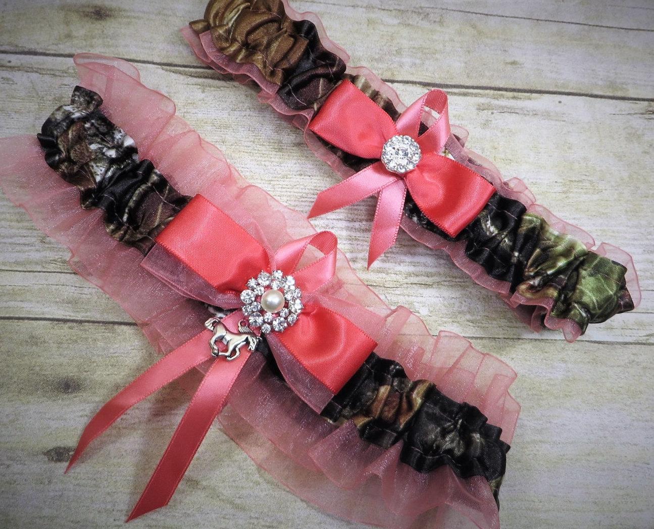 Mossy Oak Garter Set Camo Garter Set Dark Coral Bridal | Etsy