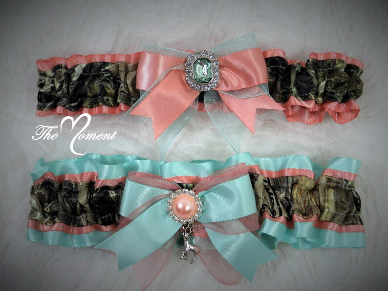 8a7c781c3a7 Camo Garter Set Aqua and Coral True Timber Camo Wedding