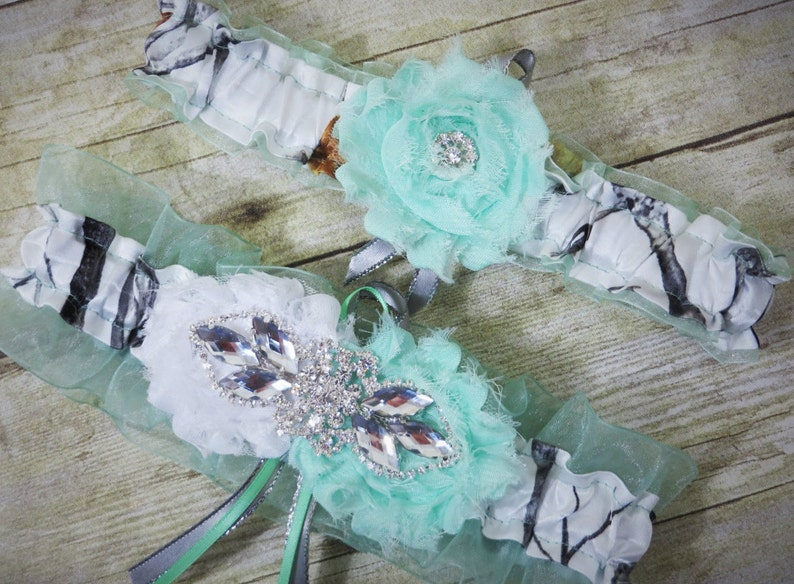 f84df6ab9 White Camo Garter with mint green True Timber Camo Keepsake